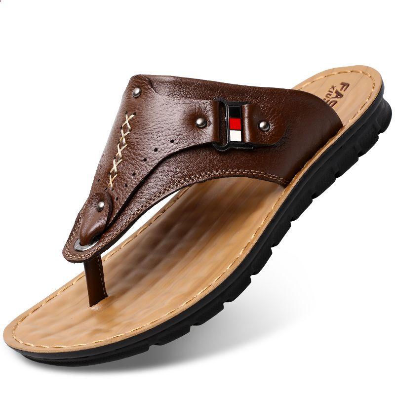 Letnie Meskie Sandaly Plazowe Meskie Obuwie Oryginalne Skorzane Sandaly Meskie Klapki Oddychajace Kap Mens Leather Sandals Soft Leather Sandals Leather Sandals