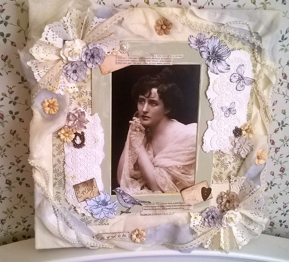 A mixed media vintage style canvas featuring a photo print of an Edwardian Shakespearean actress. I used muslin draped around the canvas, flowers and trims from The Hobby House, paper clay from Tonic and papers from Create and Craft club members website. #vintage #papercraft #craft