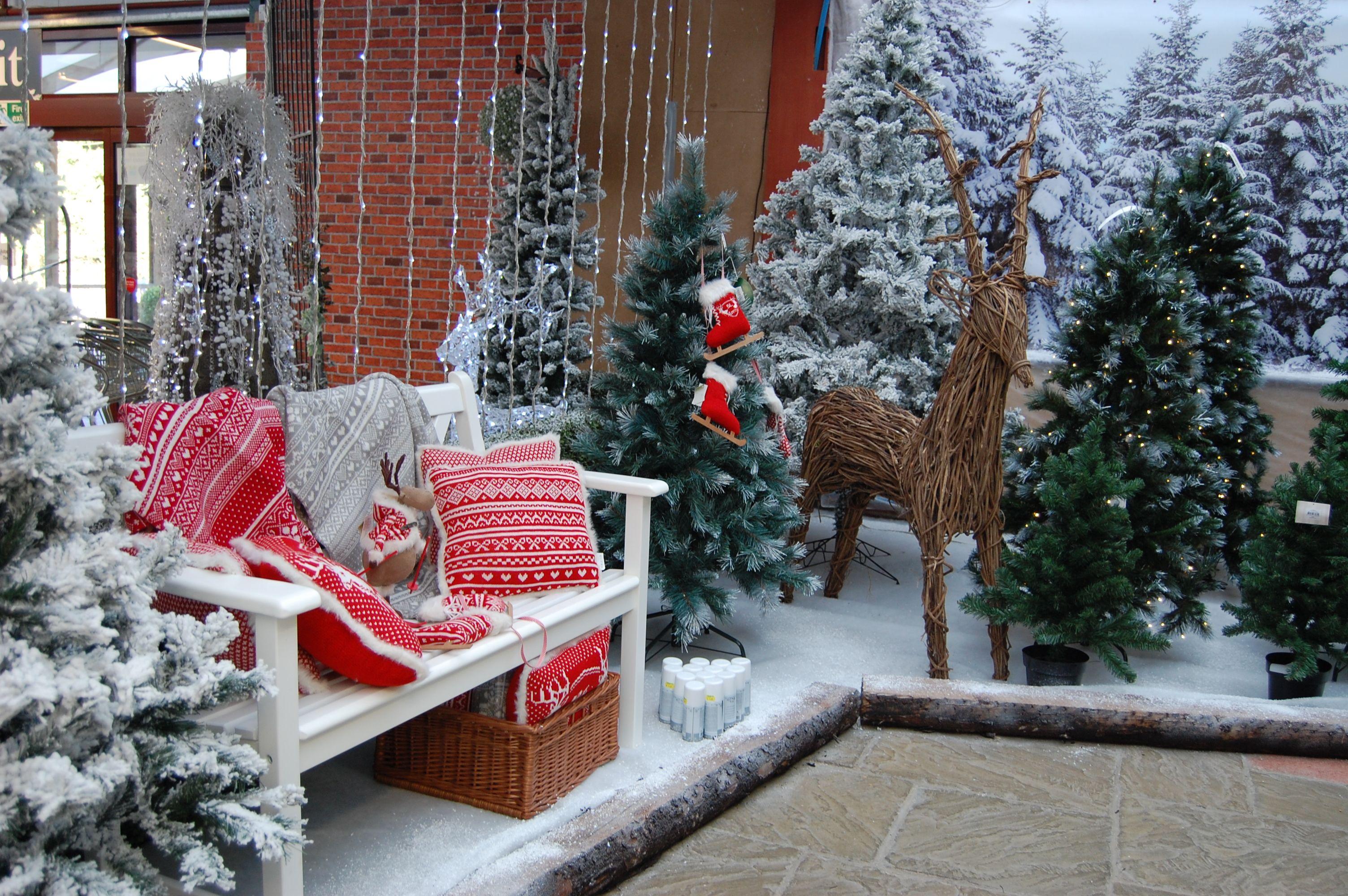 Winter Wonderland With Artificial Trees Christmas Display Winter Wonderland Decorations Winter Wonderland Christmas