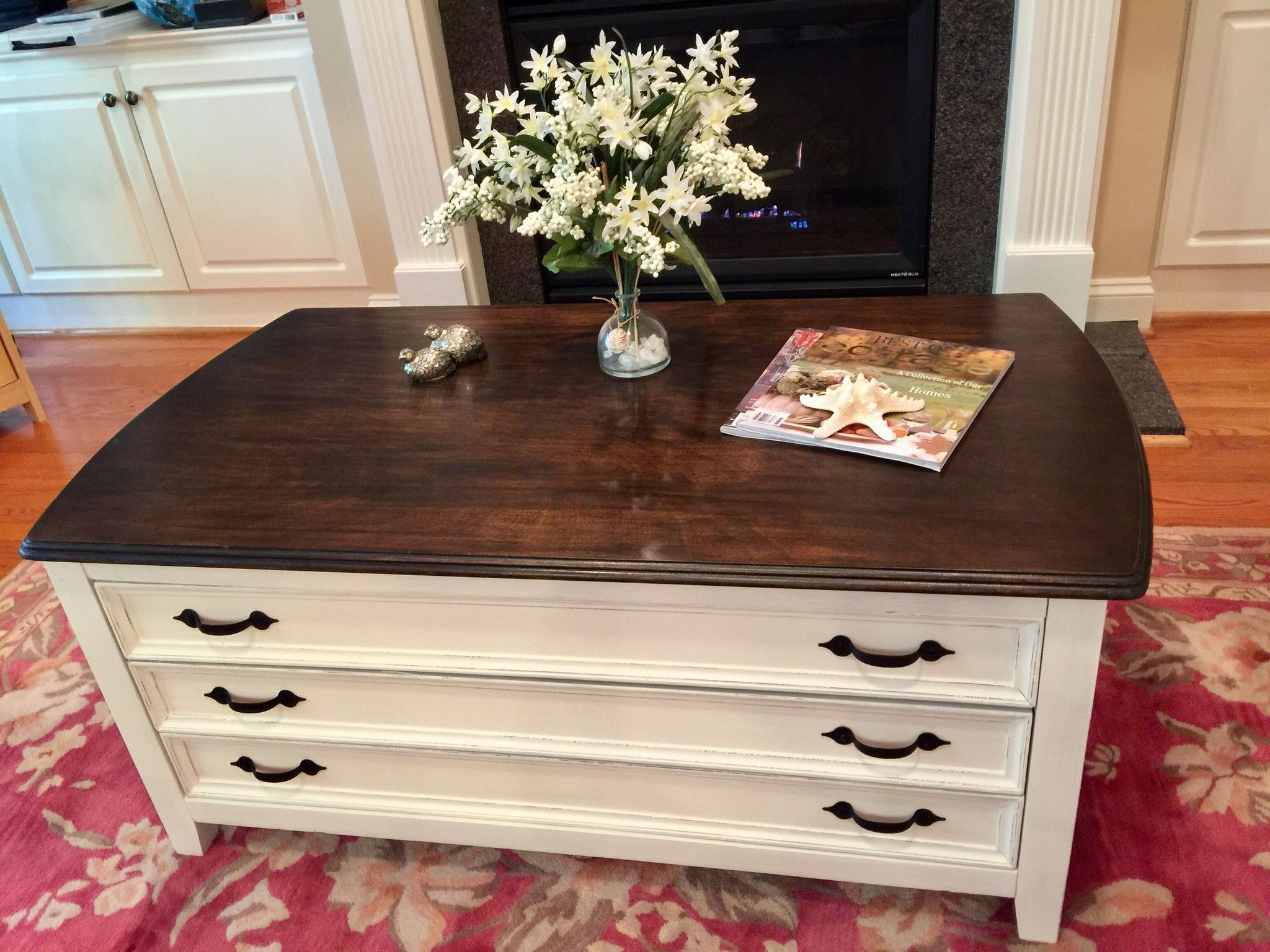 3drawer antique white walnut coffee table shabby chic