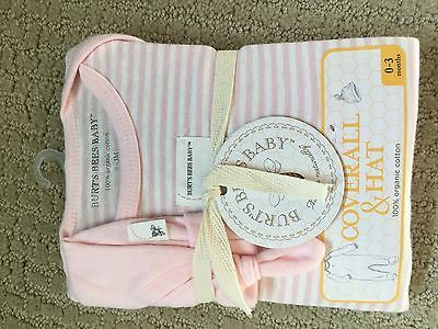 Burts-Bees-Baby-Girl-Footed-Coverall-Sleeper-Hat-Set-Pink-White-Stripes
