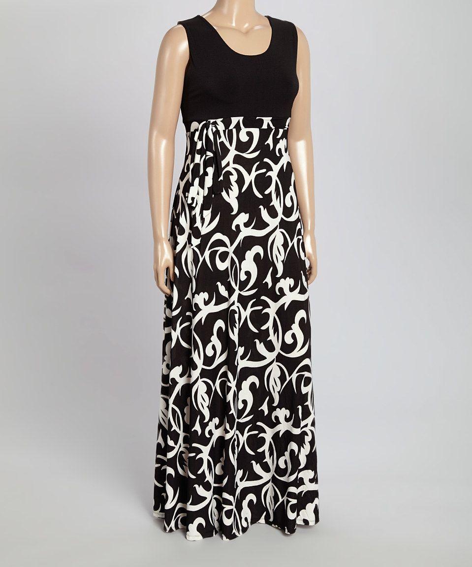 Look what I found on #zulily! GLAM Black & White Vine Scoop Neck Maxi Dress - Plus by GLAM #zulilyfinds