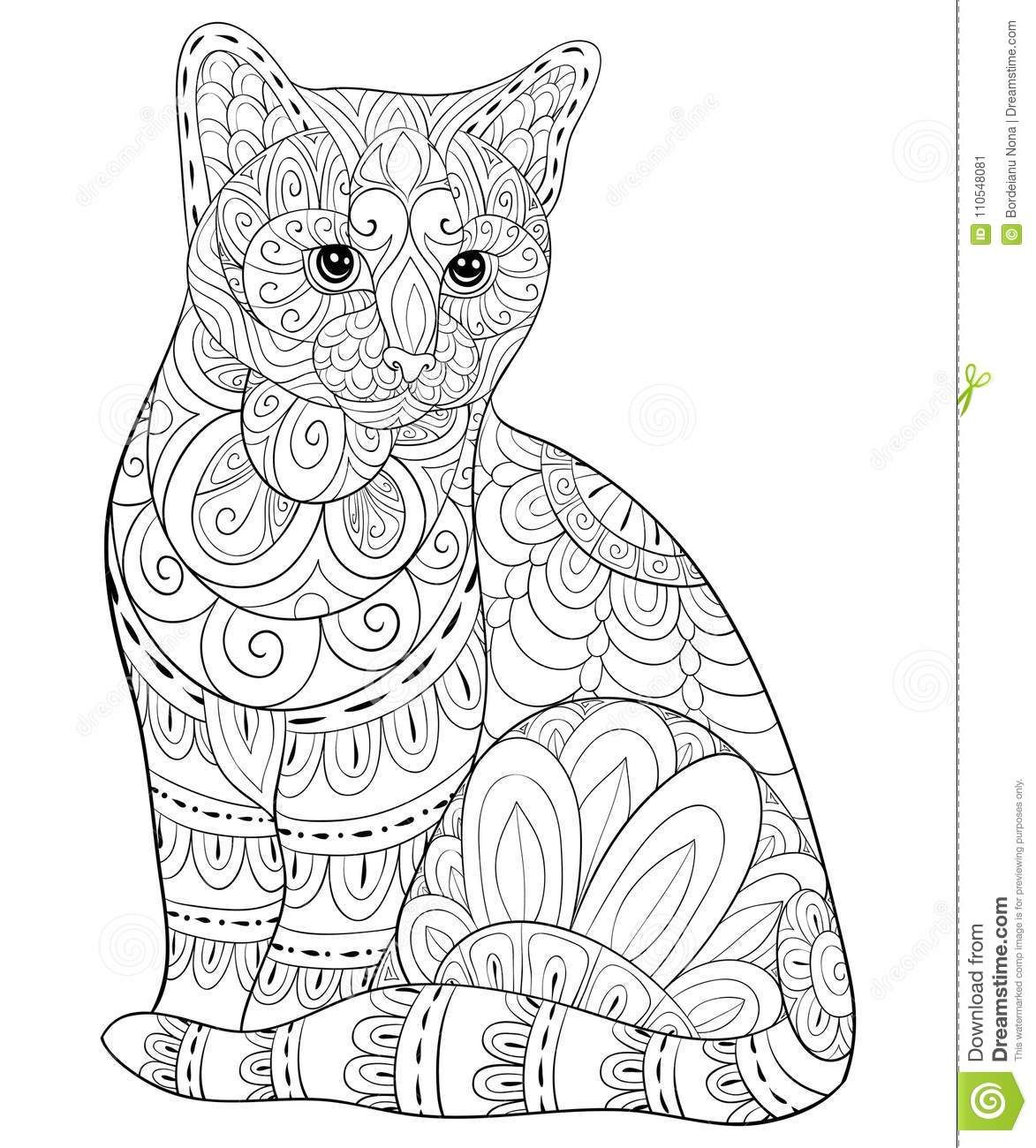 Illustration About A Cute Cat With Floral Ornamentson The Background For Relaxing Poster Design Wallp Cat Coloring Book Cat Coloring Page Animal Coloring Pages