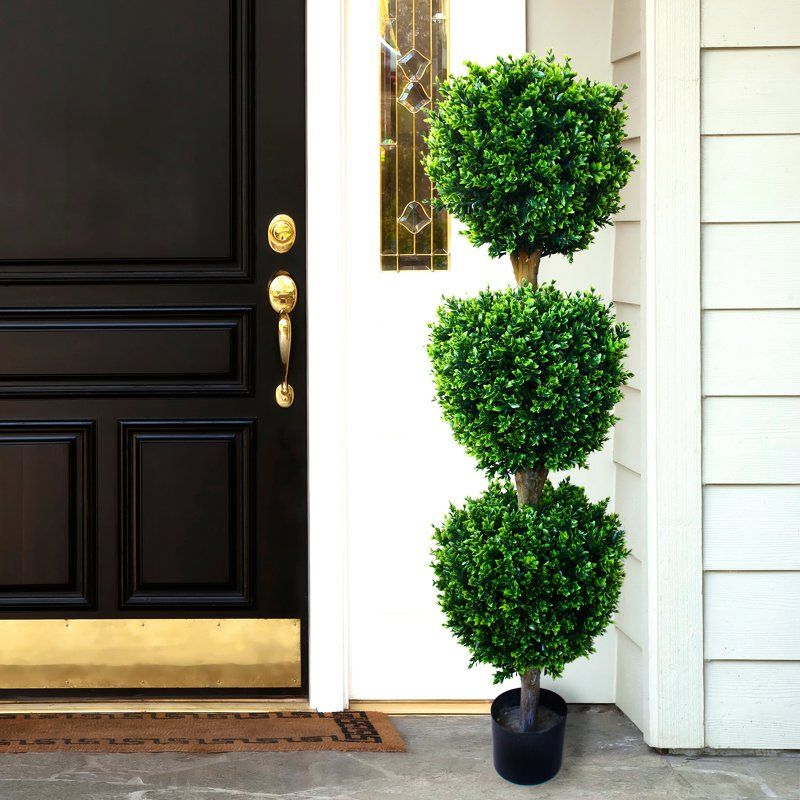 pure garden 5 ft hedyotis triple ball topiary w150016 on interior using artificial boxwood panels with flowers id=99563