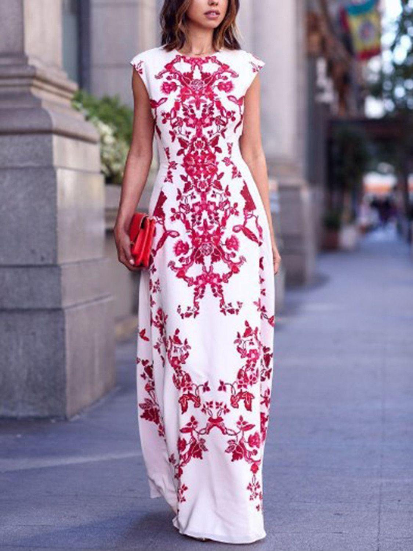 White Round Neck Cap Sleeve Tile Print Maxi Dress | Vestiditos ...