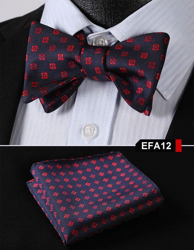 BL1002L Pure Black Solid Men Silk Woven Self Bow Tie Pocket Square Set