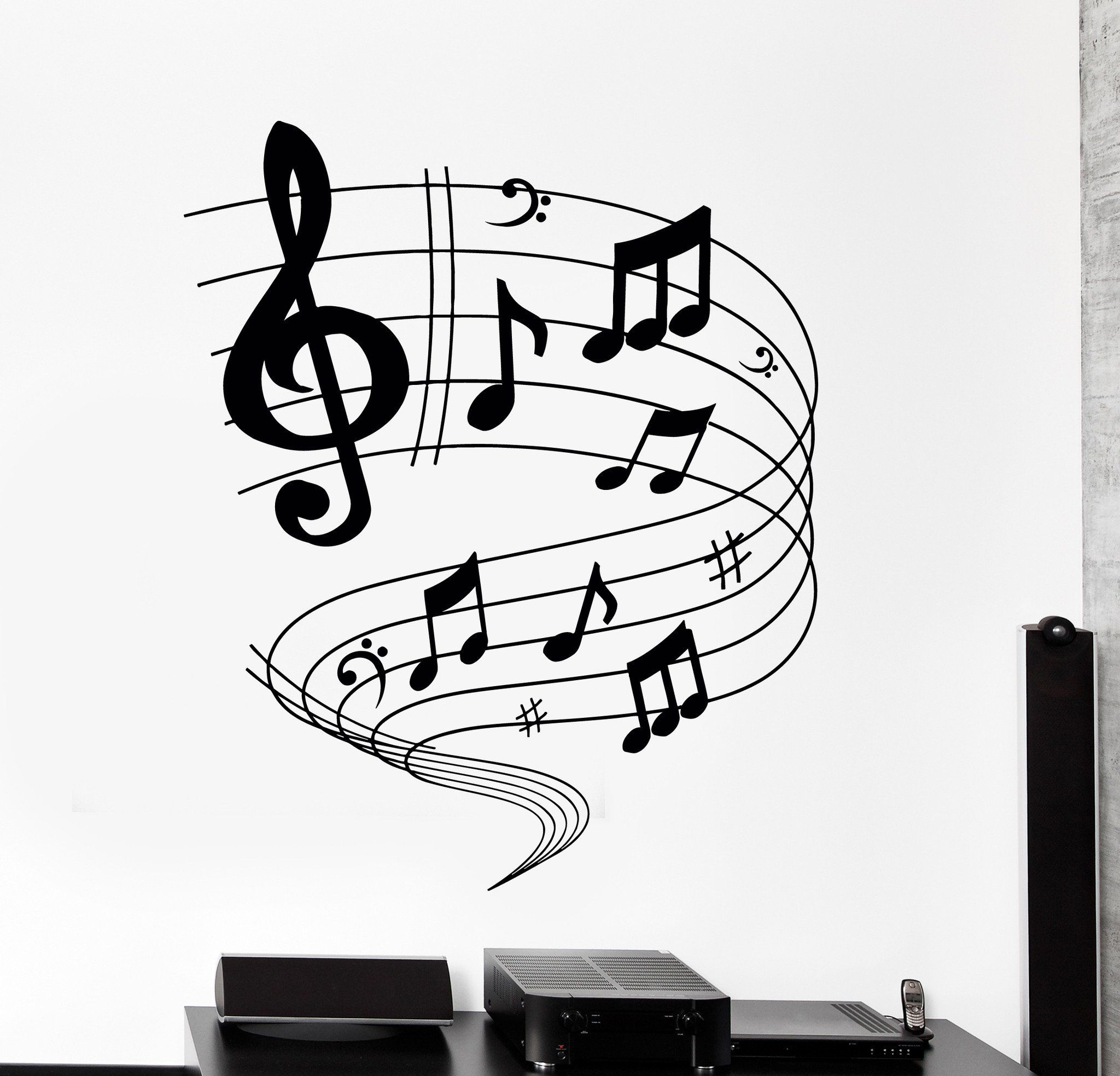 Wall Vinyl Decal Music Notes Rock Pop Blues Home Interior