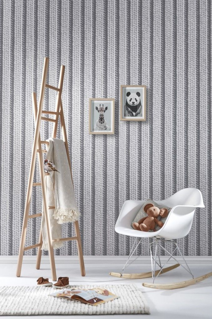 papier peint trompe l 39 oeil tricot gris french wallpaper. Black Bedroom Furniture Sets. Home Design Ideas