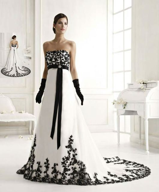 moda femenina: vestidos de novia en blanco y negro | flores