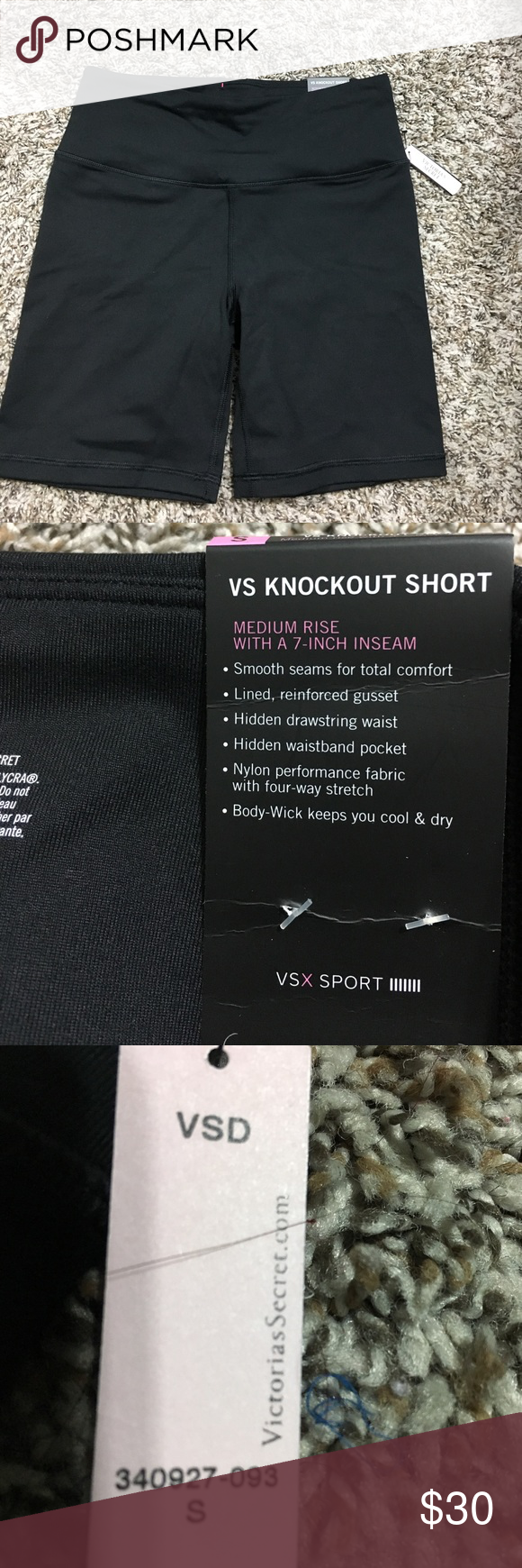 Black shorts (never worn + too small) Black Victoria secret knockout short. Has a hidden pocket in waistband in the back. + willing to bundle with other vs items Victoria's Secret Shorts