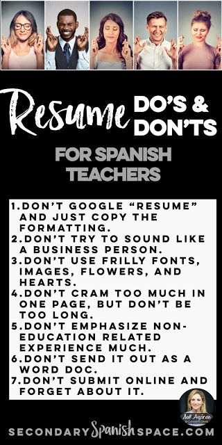 Resume Dou0027s and Donu0027ts for Spanish Teachers Secondary Spanish - resume en espanol