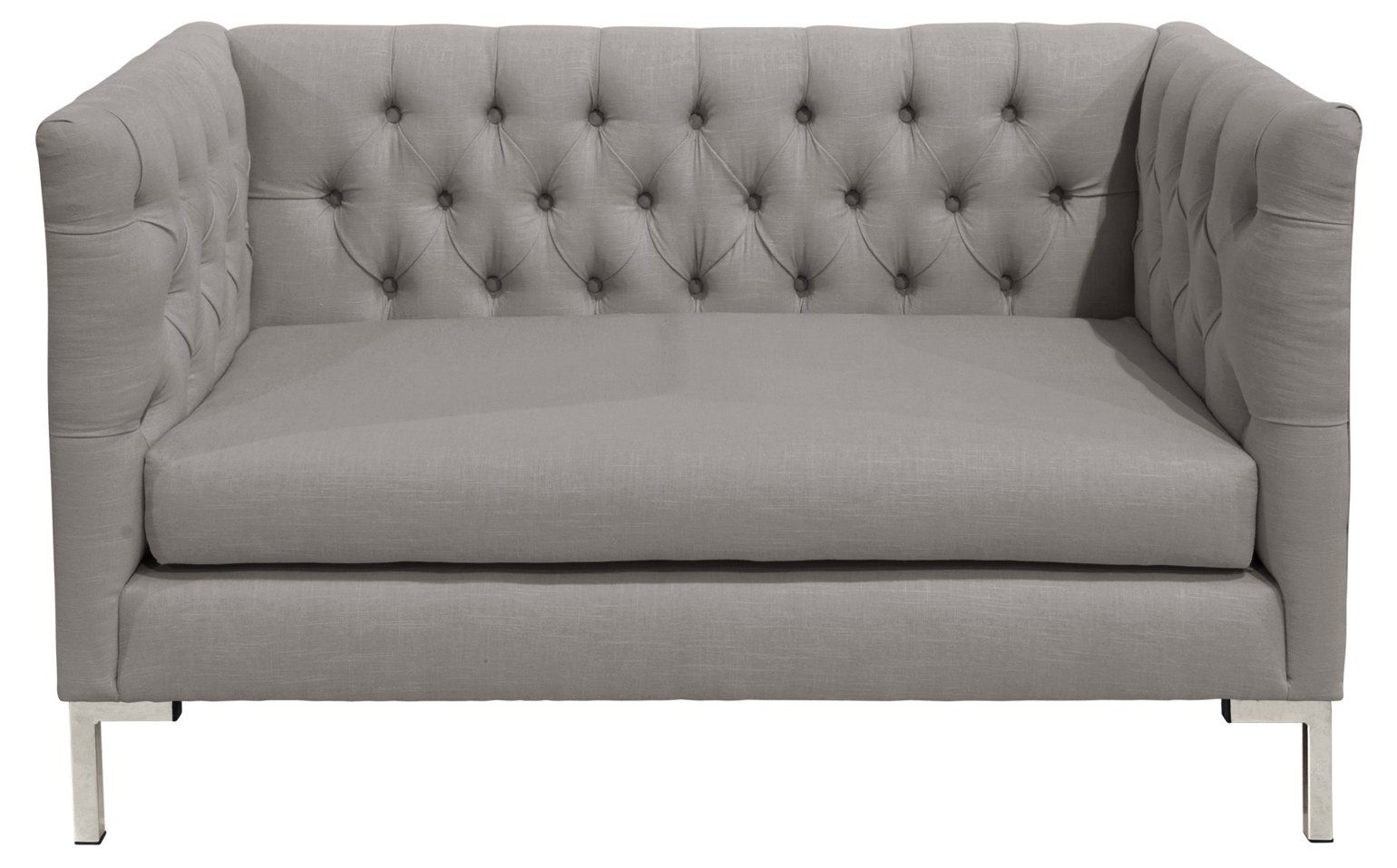 Churchill T Leg Tufted Settee Gray Silver Sofas Sectionals