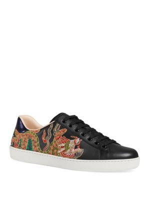 bb2be91281f GUCCI New Ace Dragon Print Leather Sneakers.  gucci  shoes