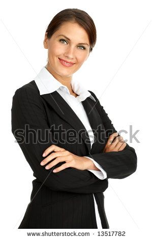 Stock Photo Smiling Business Woman Isolated Over White