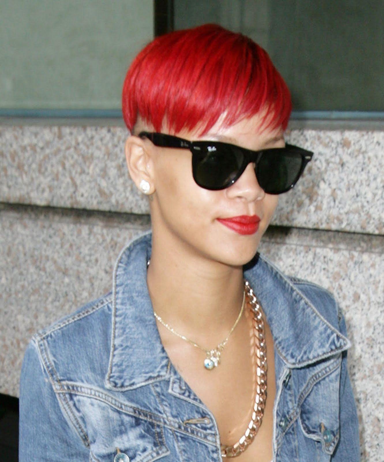 awesome Rihanna Red Frisur mit Pony Frisur Pony Rihanna