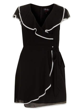 Ruby's Closet Black Wrap Over Skater Dress - View All Clothing Brands - Clothing