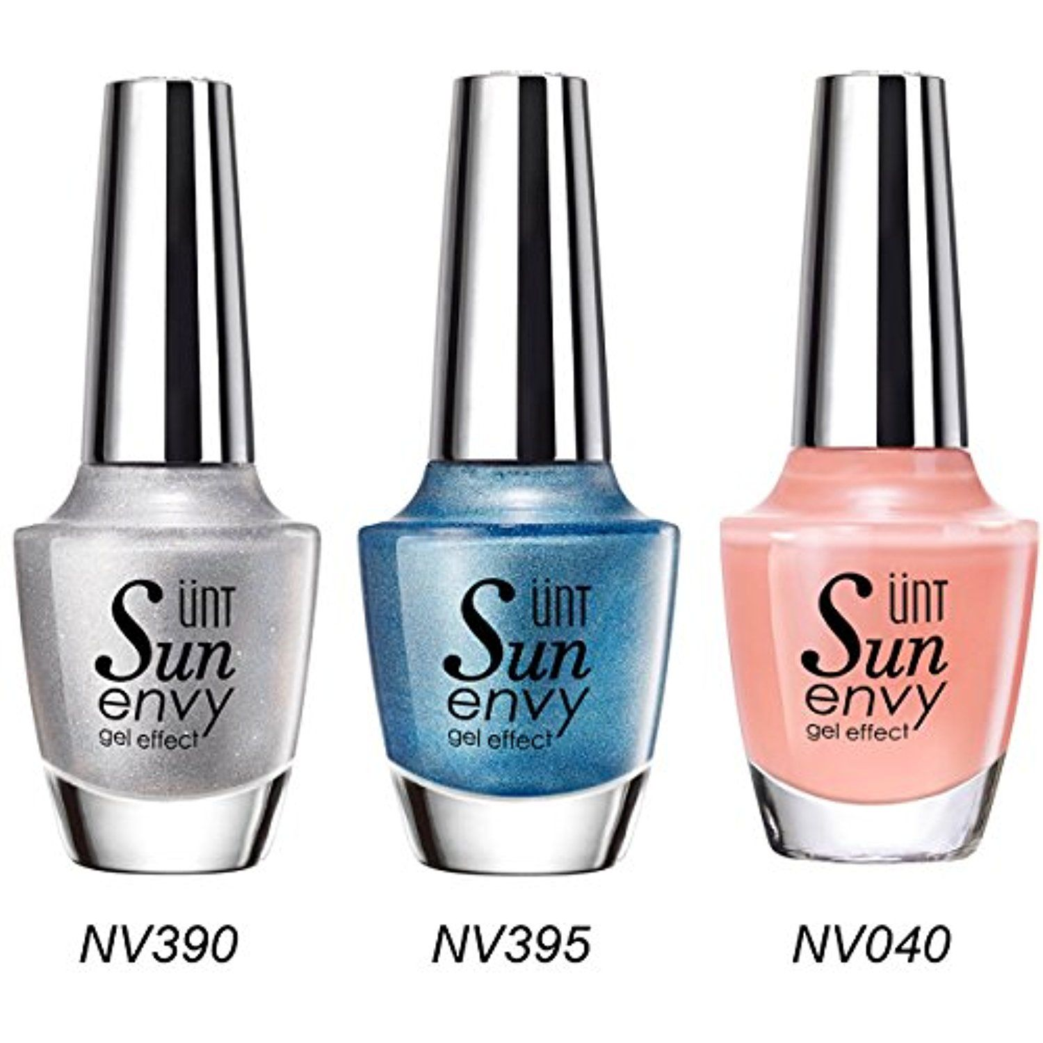 UNT 3 Pcs Gel Effect Nail Lacquer, No UV/LED Light Needed, Quick Dry ...
