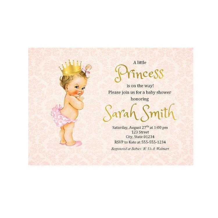 Royal Princess Baby Shower Invitation, Baby Girl Shower Invitation ...