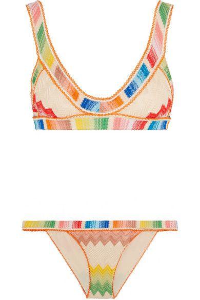 bcb1b08842e1d Missoni Mare crochet-knit triangle bikini on ShopStyle Missoni Bikini, Pink  Bikini, Bikini