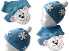 Kinderschal und Mütze Eisbär - Strickanleitung