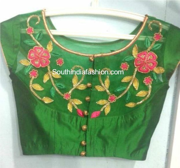 81ec43801c1221 Embroidered Net Blouse Designs | Blouses | Blouse designs, Netted ...