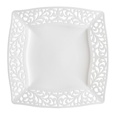 Save on low cost pierced white plastic dinner plates for fancy showers holiday catering \u0026 discount weddings on a budget. How Smarty® is YOUR party?  sc 1 st  Pinterest & 10.75\