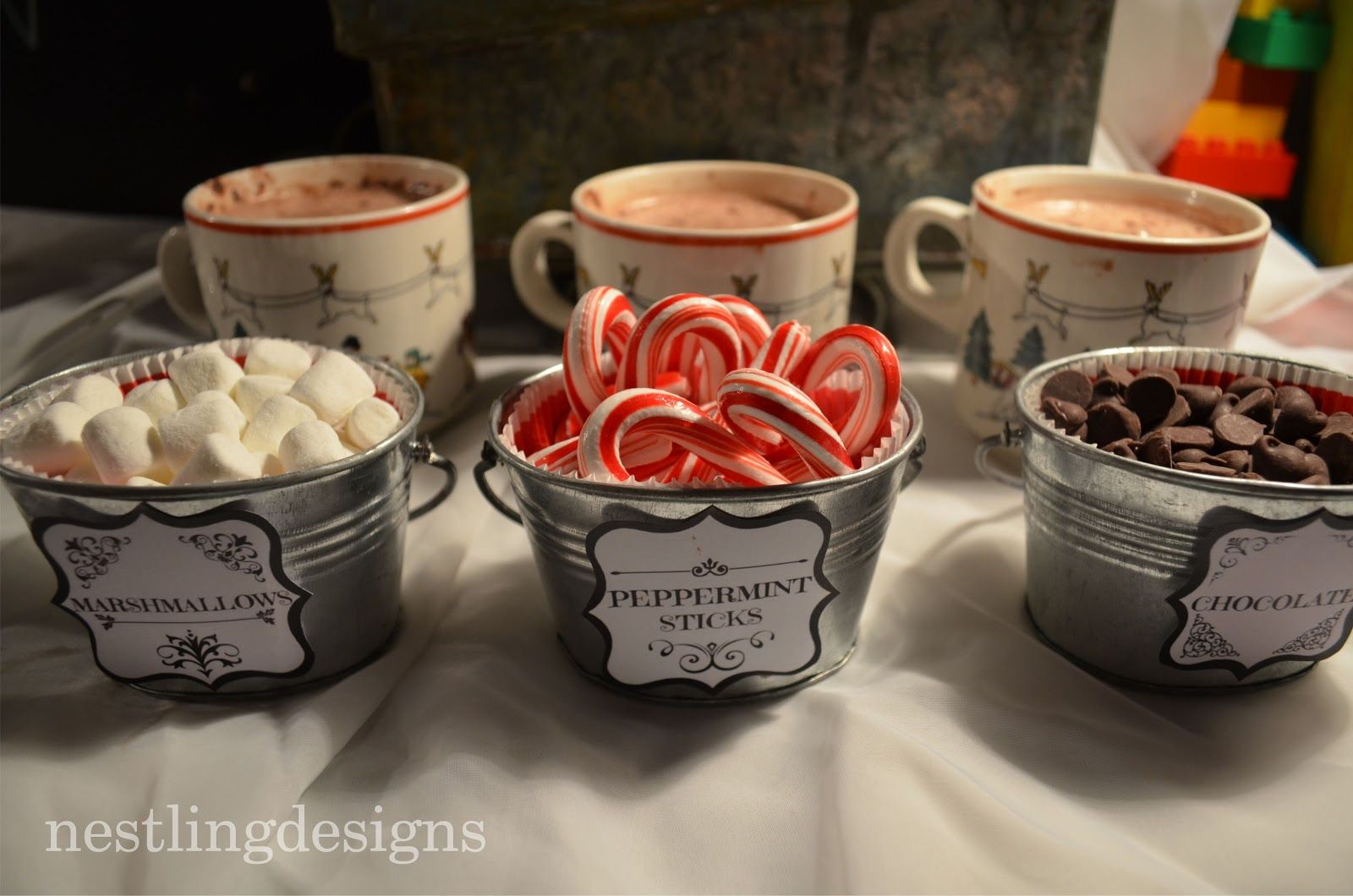 Polar Express Christmas Party Ideas Part - 23: I Like The Idea Of Using Little Galvanized Pails For The Hot Chocolate  Condiments Nestling: Polar Express Movie Night