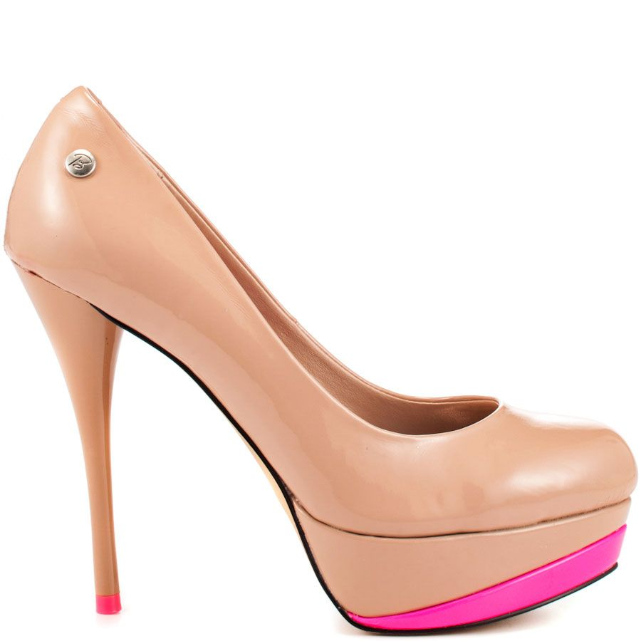 Invite vivid color into your ensemble with the Vitaa by Blink.  A smooth blush patent creates the upper while showcasing a 4 1/2 inch stiletto heel.  A bright pink trim is featured at the 1 inch platform for a cheery touch.