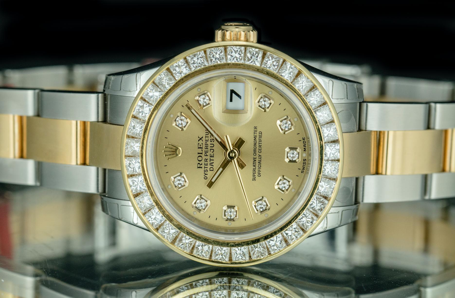 Ladies rolex datejust tone oyster bracelet diamond k gold bezel