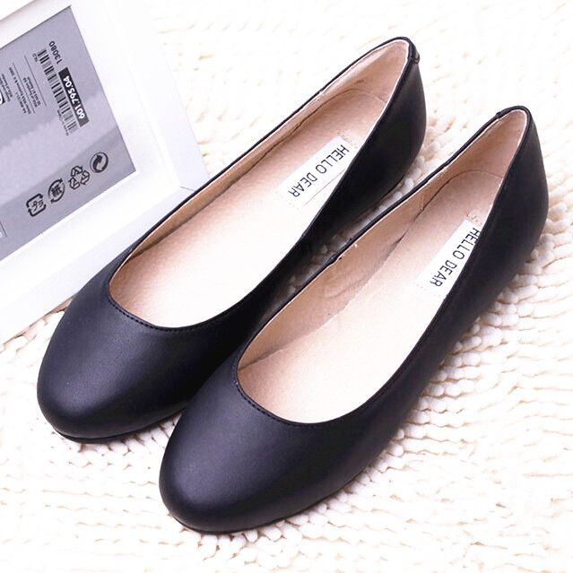 Price tracker and history of Womens Flats Shoes Genuine Leather Woman Ballet  Flat Shoes Fashion Cowhide Ladies Casual Shoes Black Leather Shoes