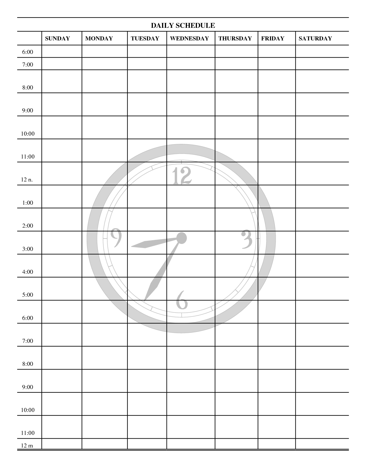 Schedule Print Out For Kids