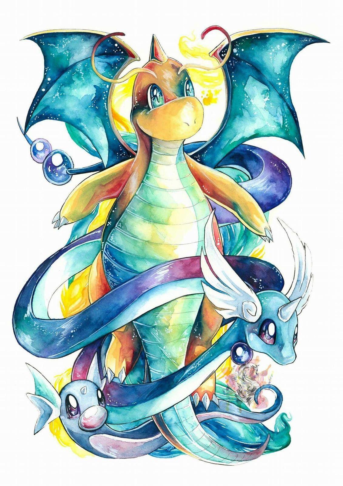 Pokemon Dratini Deagonir Dragonite Pokemon Drawings Cute Pokemon Wallpaper Pokemon Art