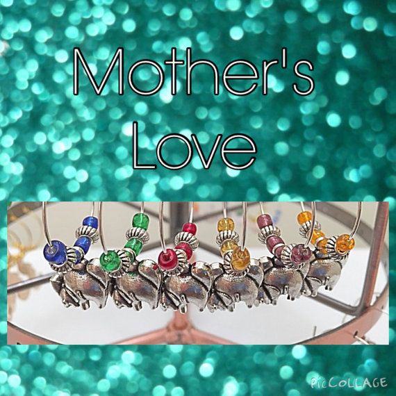 Set of 6 Mother Child Elephant Pendant Mother's by WINETimeCharms