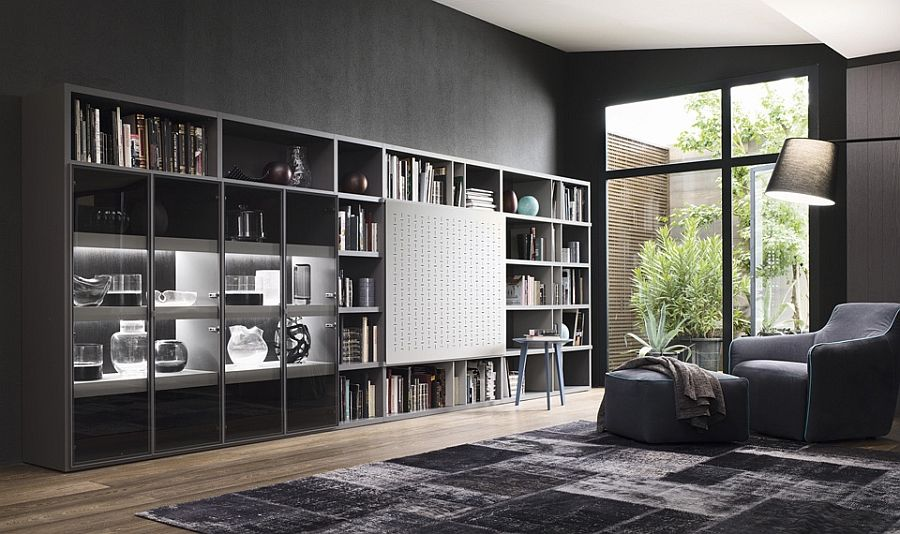 Contemporary Living Room Wall Units And Libraries Ideas Living