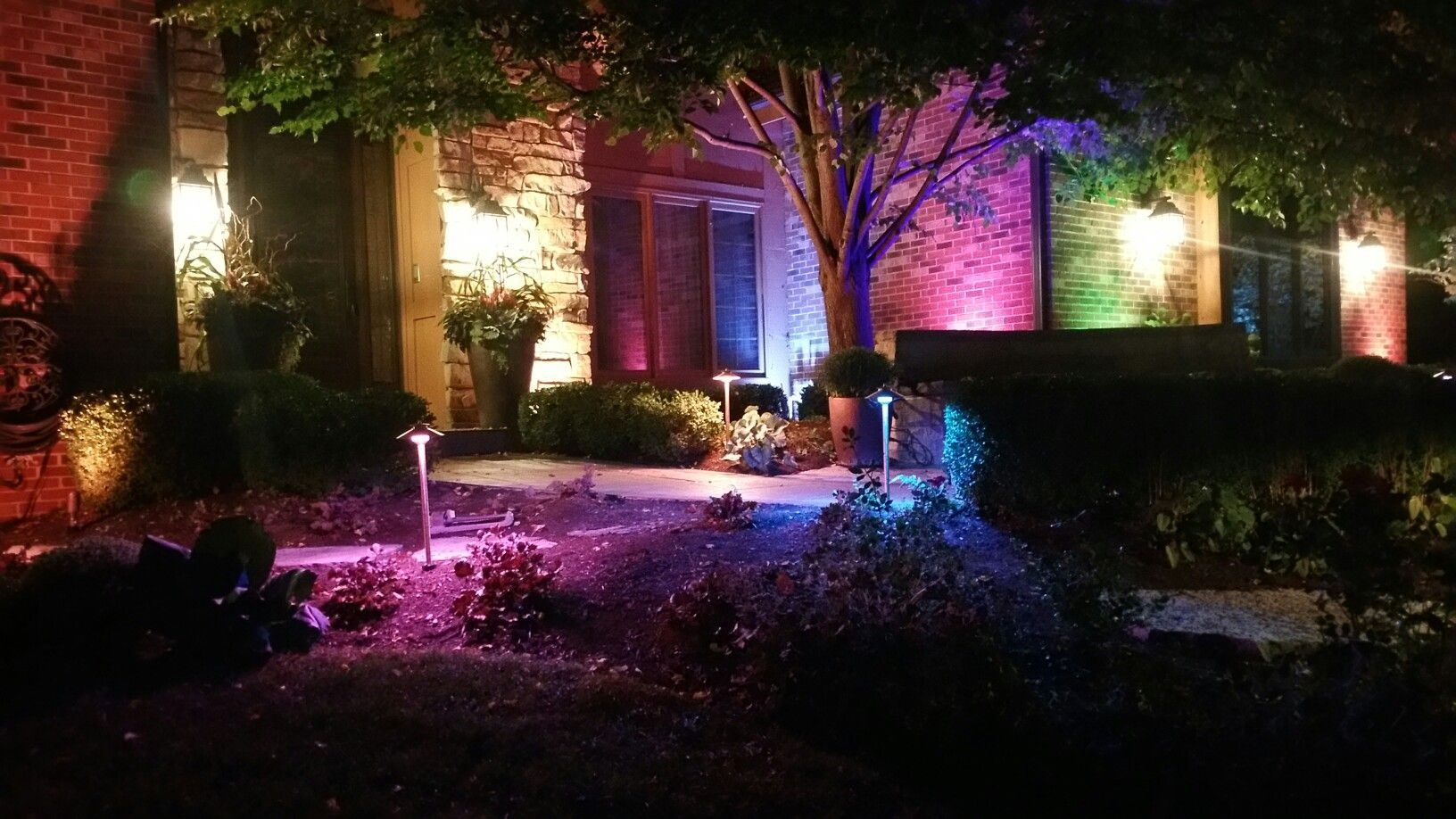 Landscape Lighting Project With Color Changing Themes