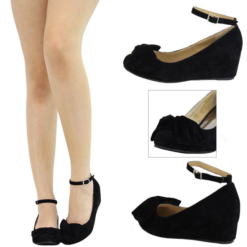 Bowknot ankle strap hidden low wedge heel women pump ballet flat ...