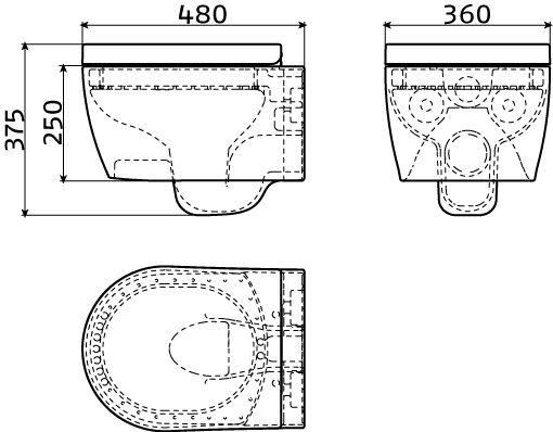 First toilette à suspendre, avec assise et abatant, avec système fermeture douceur et montage quick release, version courte, blanc.