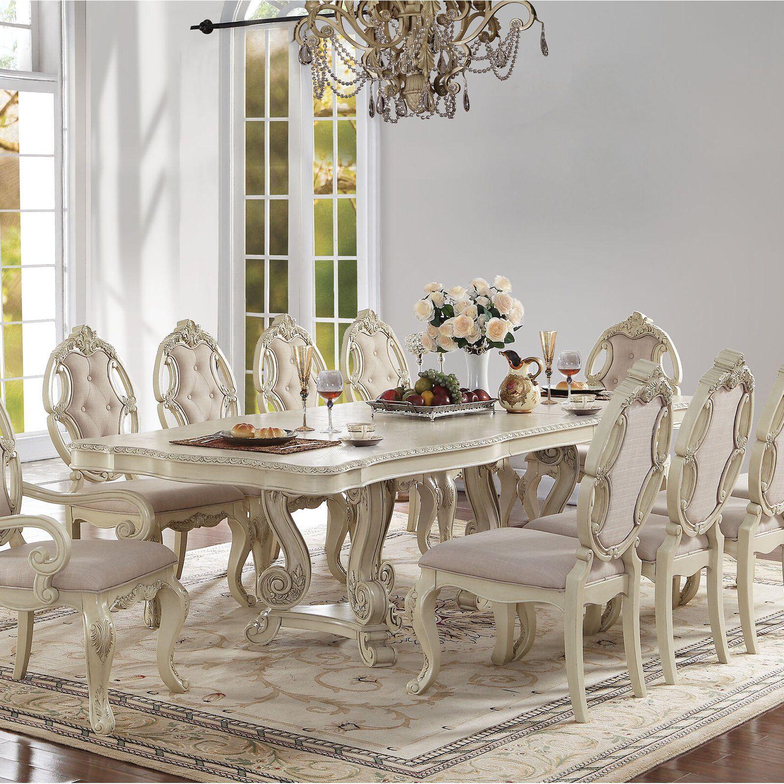 Astoria Grand Larosa Dining Table Wayfair Chic Dining Room Shabby Chic Dining Room Pedestal Dining Table