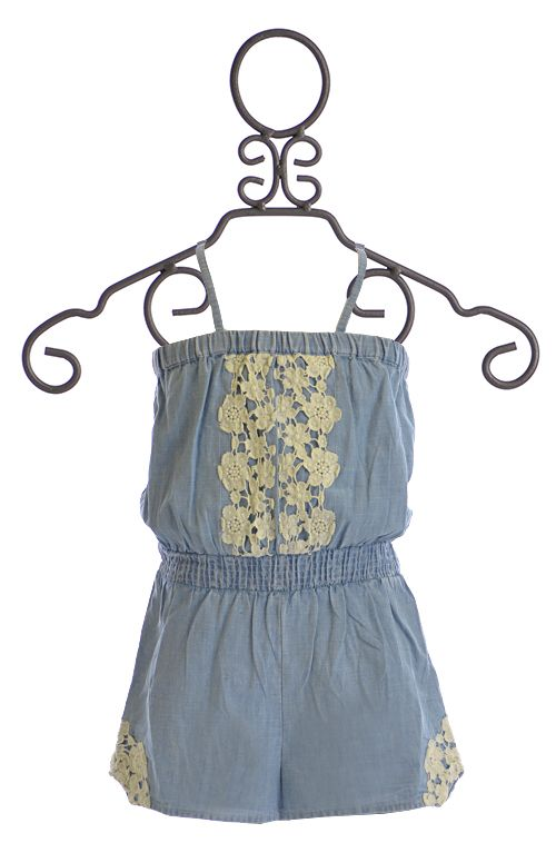 ed04fcbc6d30 Mimi and Maggie Romper for Girls with Crochet Accents
