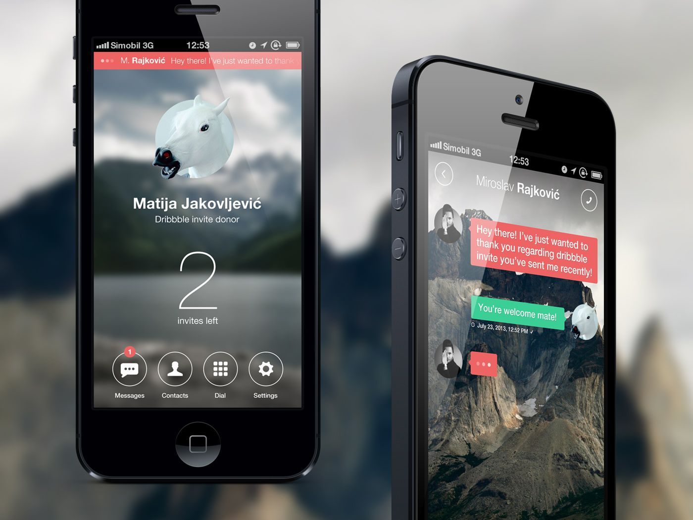 Dribbble social app ui design jpg by ramotion - Chat And Profile Mobile App User Interface Design Ui