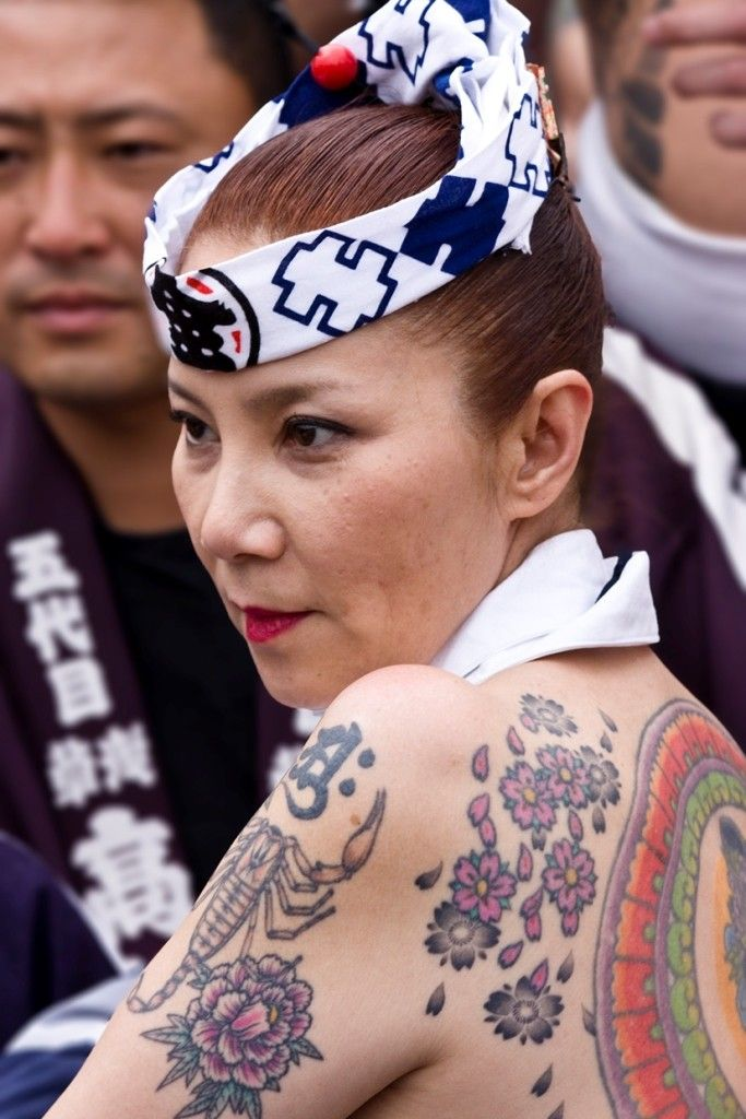 Yakuza lady with Japanese Cherry Blossom Tattoo Back in