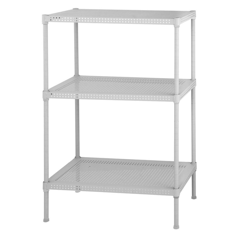 Edsal 28 In H X 24 In W X 12 In D 3 Shelf Perforated Steel Shelving Unit In White Pws241228 3w Steel Shelving Unit Steel Shelving Metal Storage Shelves