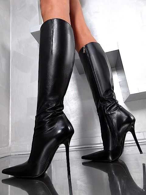 1969 ITALY LEDER HOHE STIEFEL Damen Boots N4 Real Leather Schuhe High Heels 56b2b95d19