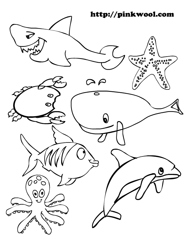 ocean animals coloring pages this is a coloring page with ocean animals a shark star fish a. Black Bedroom Furniture Sets. Home Design Ideas