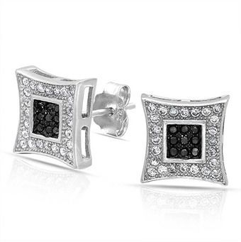 9e4c9a26b Bling Jewelry Black White Micro Pave Cz Unisex Kite Stud Earrings 925  Sterling Silver 10mm.