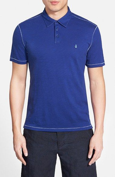 John Varvatos Star USA 'Peace' Slim Fit Slub Cotton Polo available at #Nordstrom