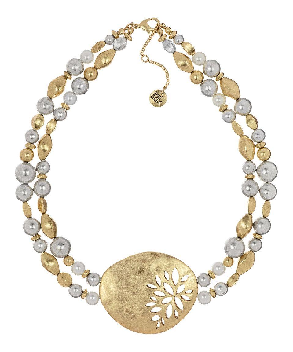 This The Sak Goldtone & Silvertone Floral-Openwork Statement Necklace by The Sak is perfect! #zulilyfinds