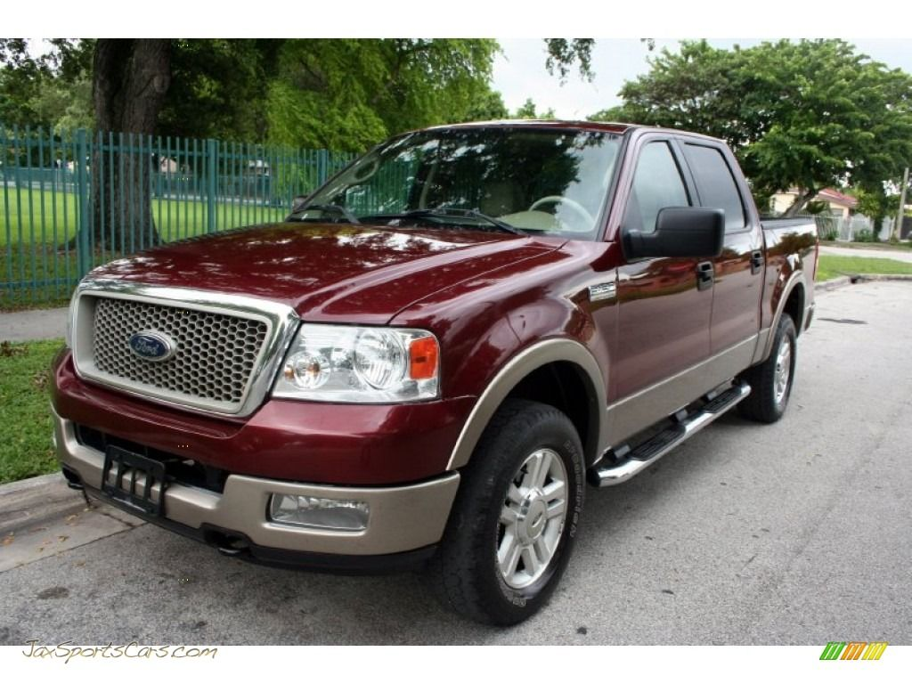 2004 Ford F150 Lariat Supercrew 4x4 In Dark Toreador Red Metallic