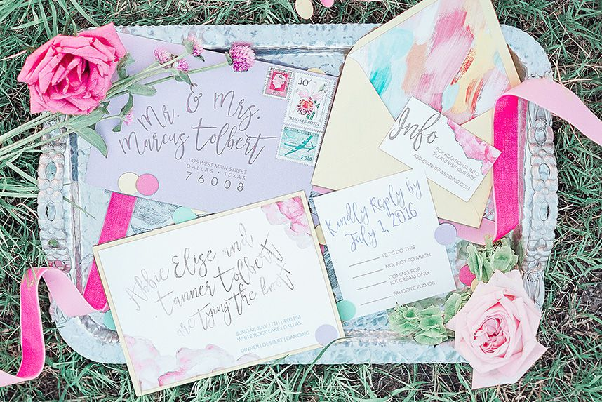 LaneLove Design created beautiful invitations for this darling Ice Cream inspired shoot styled by Events by Jade. Photography by Rachel Elaine Photography. #bridesofnorthtx #invitation #wedding