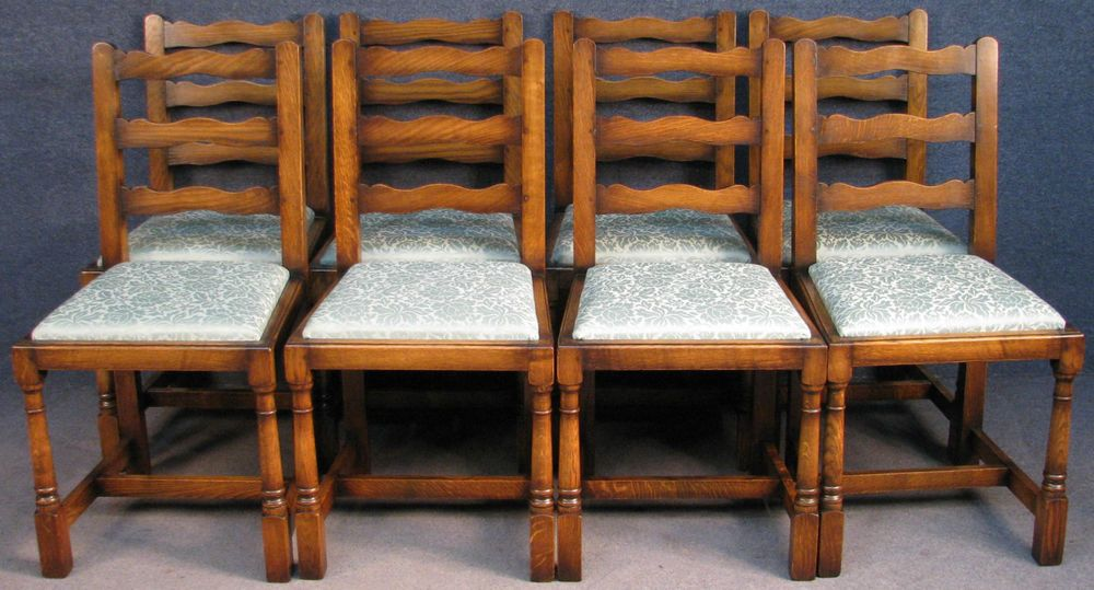 Set Of 8 Cumpers Period Style Solid Oak Ladder Back Kitchen / Dining Chairs  #CumpersOfSalisbury